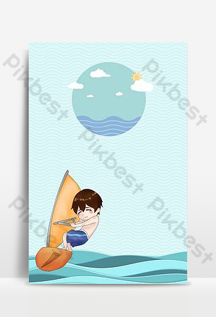 Little fresh blue boy surfing sea wave background Backgrounds Template PSD