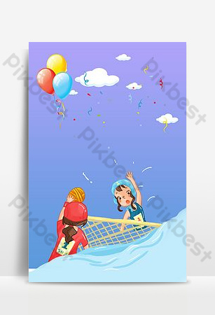 Cartoon background of sea water polo volleyball sport Backgrounds Template PSD