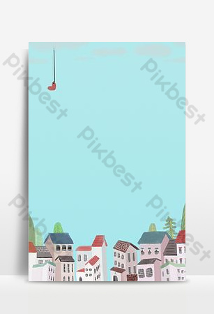 tiffany blue senior color cartoon drawing house poster Backgrounds Template PSD