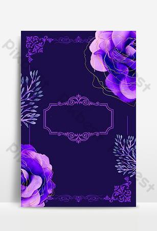 cartel de fondo de invitación de boda floral púrpura noble Fondos Modelo PSD
