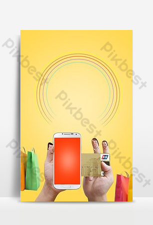 Online shopping mobile shopping advertising background Backgrounds Template PSD