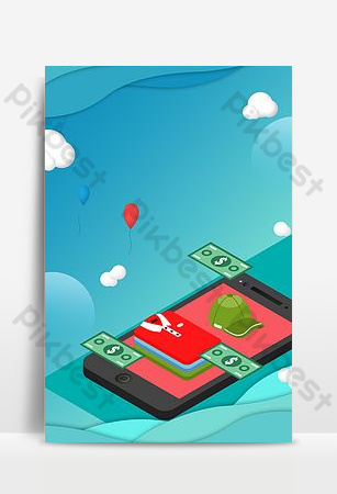 Изометрические рекламные плакаты для мобильных покупок Фон шаблон PSD