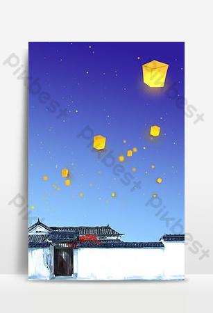Đẹp phong cách cổ xưa sân rơi lỗ sáng đèn rải rác bầu trời đêm poster nền Nền Bản mẫu PSD