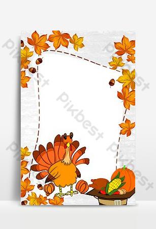 Affiche simple de citrouille de dinde de Thanksgiving Fond Modèle PSD