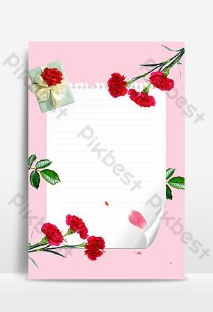 Carte de voeux de fleur rose de Thanksgiving simple petit fond frais Fond Modèle PSD