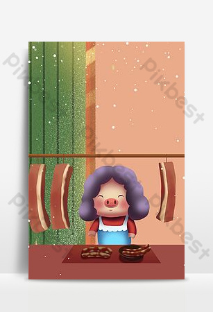New year's sale poster of old grandma selling bacon Backgrounds Template PSD