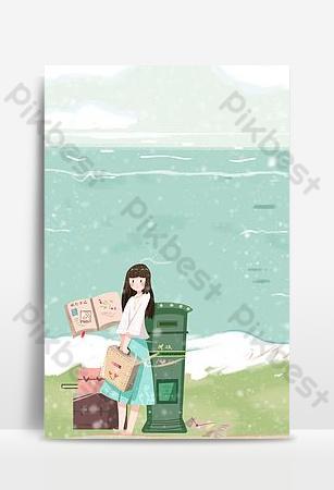 文藝少女冬季日出旅遊促銷海報 背景 模板 PSD