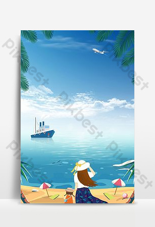 Creative seaside tourism synthesis background poster Backgrounds Template PSD