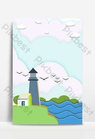 Simple small fresh paper cut wind seaside landscape background Backgrounds Template PSD