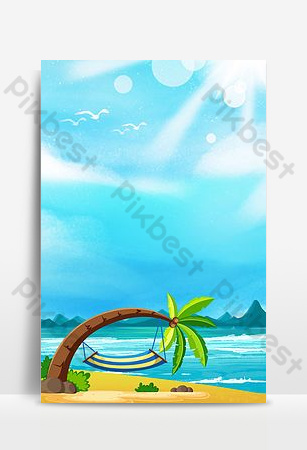 Seaside landscape creative background synthesis Backgrounds Template PSD
