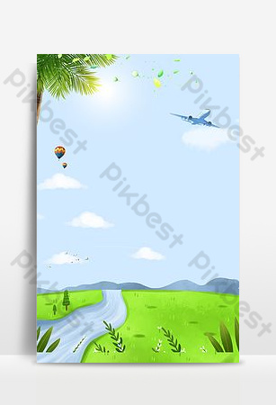 Spring green river water landscape Backgrounds Template PSD