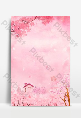 Cherry blossom festival pink beautiful cottage flower sea poster Backgrounds Template PSD