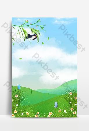 ناقلات الكرتون الصغيرة الطازجة الربيع الاعتدال الشمسية الخضراء المناظر الطبيعية خلفيات قالب PSD