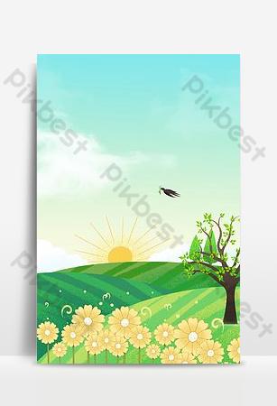 ناقلات الكرتون الخضراء الصغيرة الطازجة الربيع الاعتدال في الهواء الطلق المناظر الطبيعية خلفيات قالب PSD