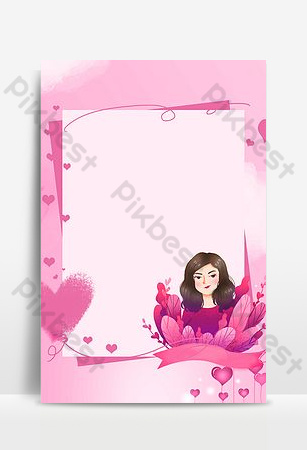 38 womens day pink small fresh literary and floral background poster Backgrounds Template PSD