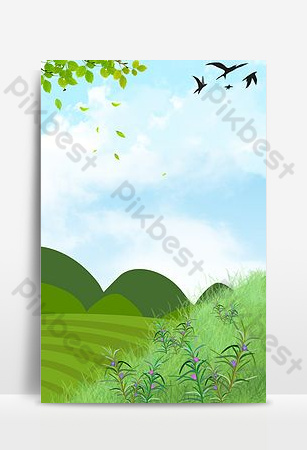 Hand painted cartoon green landscape spring season background Backgrounds Template PSD