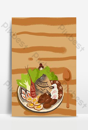 Seafood platter featuring creative illustrations Backgrounds Template PSD