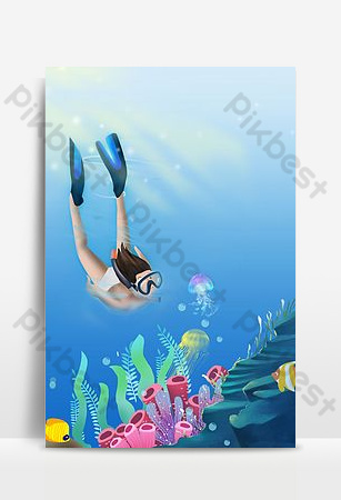 Sea diving tourism illustration poster background Backgrounds Template PSD