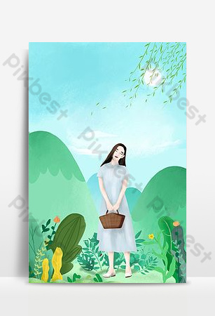 Hand painted small fresh national style spring travel spring girl poster background Backgrounds Template PSD