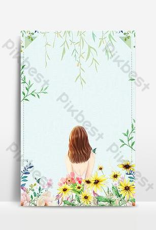 文藝清新唯美綠色手繪植物花卉電子商務背景 背景 模板 PSD