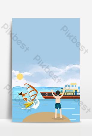latar belakang poster liburan kapal pesiar pulau Latar belakang Templat PSD
