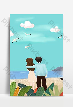 Cartoon hand drawn couple go to watch the sea poster background together Backgrounds Template PSD