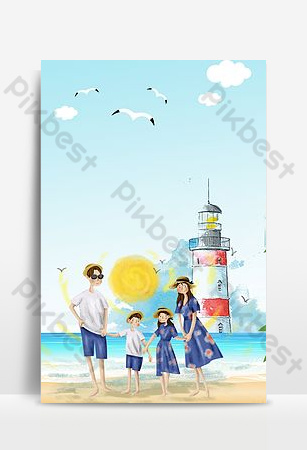 Tourist holiday seaside background picture Backgrounds Template PSD