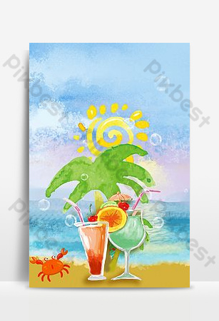 Have a drink on a seaside holiday Backgrounds Template PSD