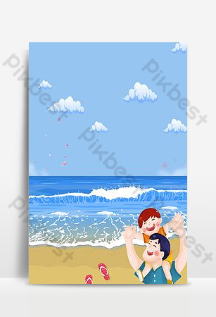 Cartoon father's day seaside holiday seaside background Backgrounds Template PSD