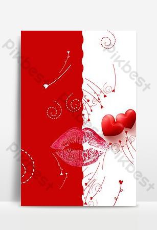 hermoso fondo del tema de los labios rojos del día internacional del beso Fondos Modelo PSD