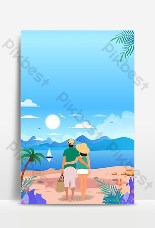 Couple seaside watching the sea poster background Backgrounds Template PSD