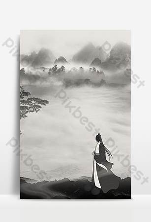 chinese style mountains and rivers and sea heroes background Backgrounds Template PSD