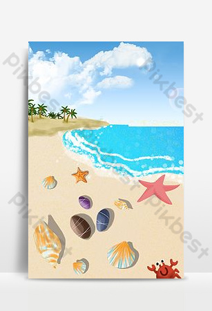 Seashell sea background picture Backgrounds Template PSD