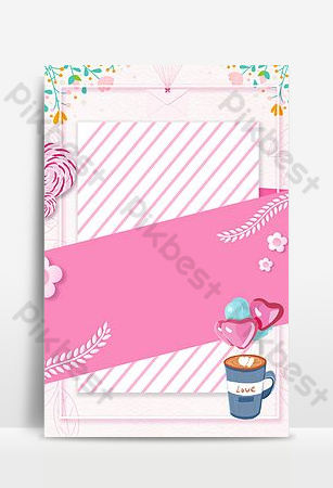 fondo de publicidad de rayas rosadas de san valentín de dibujos animados simple Fondos Modelo PSD