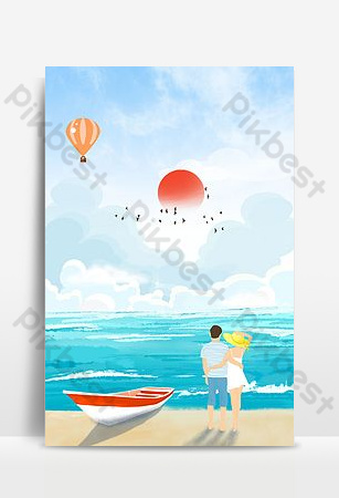 Small fresh seaside romantic couple white cloud sea floating tanabata Backgrounds Template PSD
