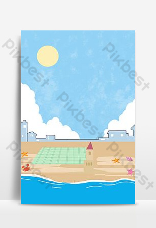 Blue seaside city simple style background poster Backgrounds Template PSD