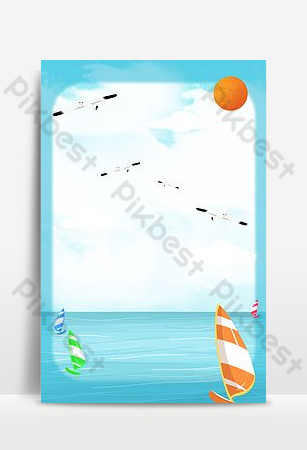 Sailing boat racing on the sea Backgrounds Template PSD