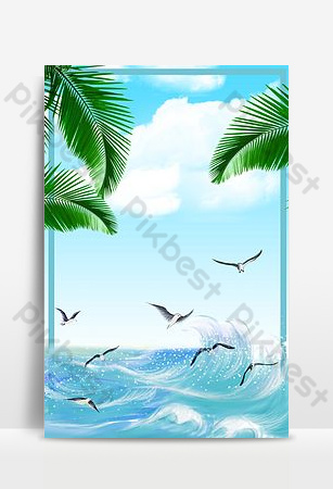 Seagull flying in the rough sea Backgrounds Template PSD