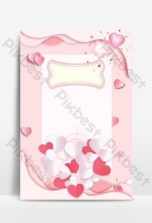 fondo de publicidad del día de san valentín romántico de dibujos animados de corazón de durazno simple Fondos Modelo PSD