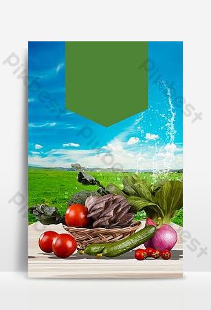 安全自然無污染綠色有機蔬菜背景海報 背景 模板 PSD
