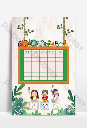 Carte de fond de calendrier de cours de classe d'intérêt mignon dessin animé simple Fond Modèle PSD
