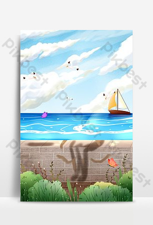 Blue ocean scenery illustration Backgrounds Template PSD