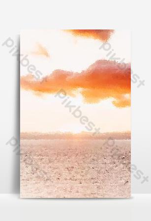 Sunset sea gouache landscape background Backgrounds Template PSD
