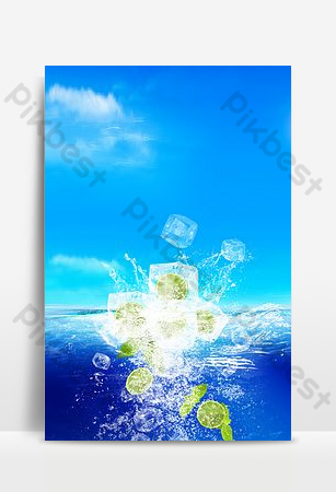 Small fresh summer ice drink poster Backgrounds Template PSD