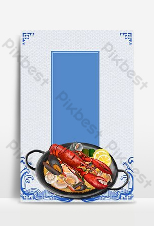 simple style seafood food sea wave food advert background Backgrounds Template PSD