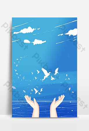 夢想白鴿海報背景與手飛 背景 模板 PSD