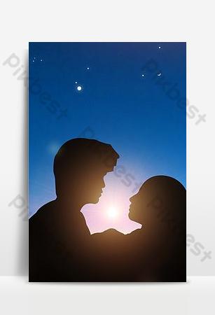 fondo de noche estrellada pareja romántica de estilo simple Fondos Modelo PSD