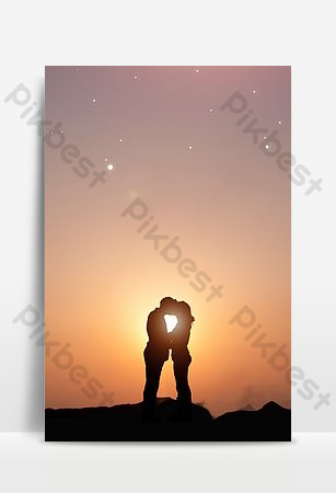 fondo de silueta de pareja hermosa romantica simple Fondos Modelo PSD