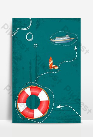 Simple style summer camp seaside background poster Backgrounds Template PSD