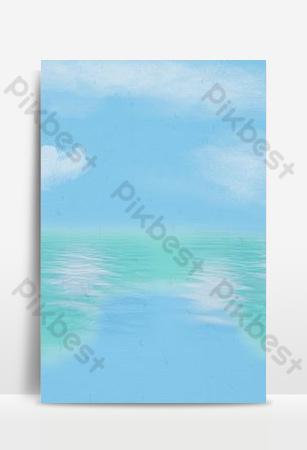 Refreshing blue seaside landscape Backgrounds Template PSD